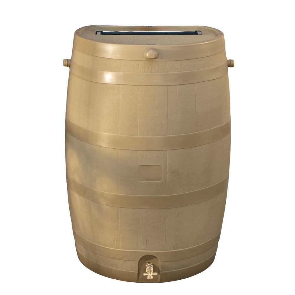 RTS Home Accents 50 Gal. Rain Barrel with Oak Brass Spigot