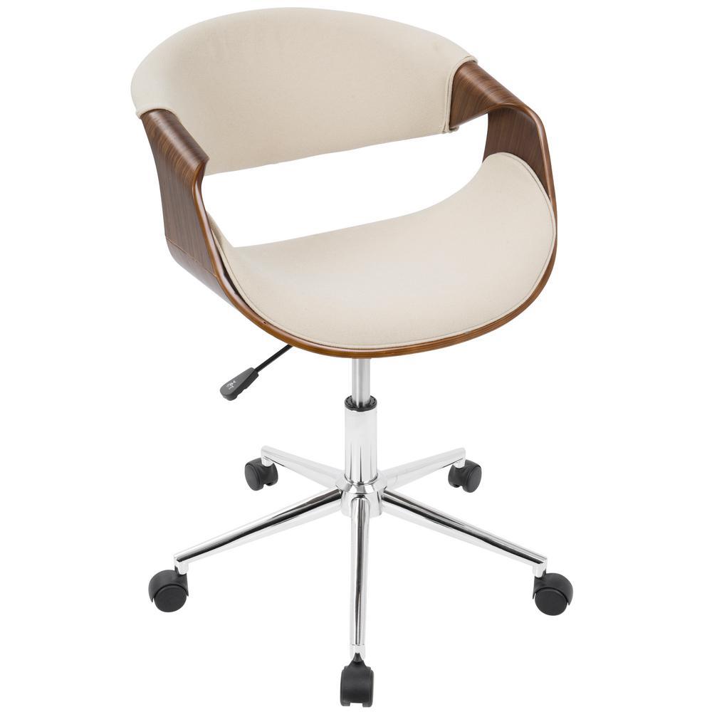 Curvo Cream and Walnut Office Chair