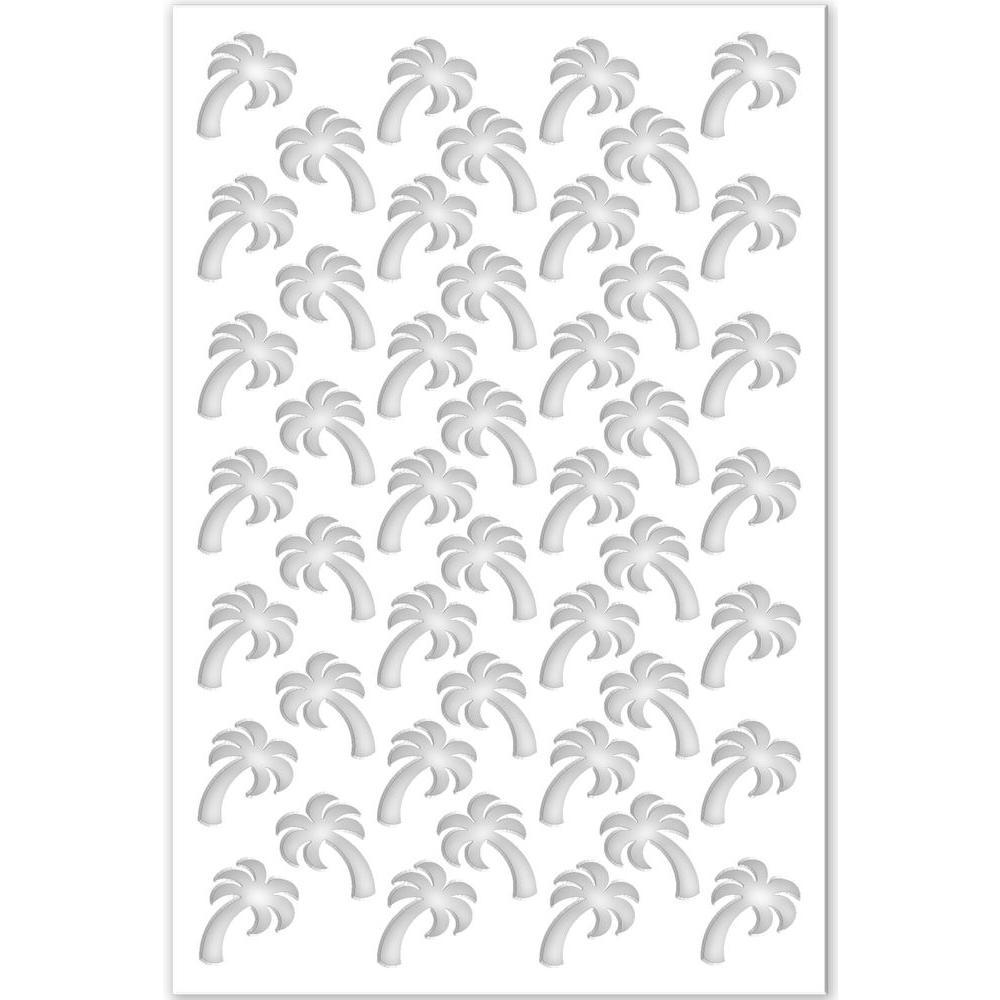 Palm Tree 32 in. x 4 ft. White Vinyl Decorative Screen Panel