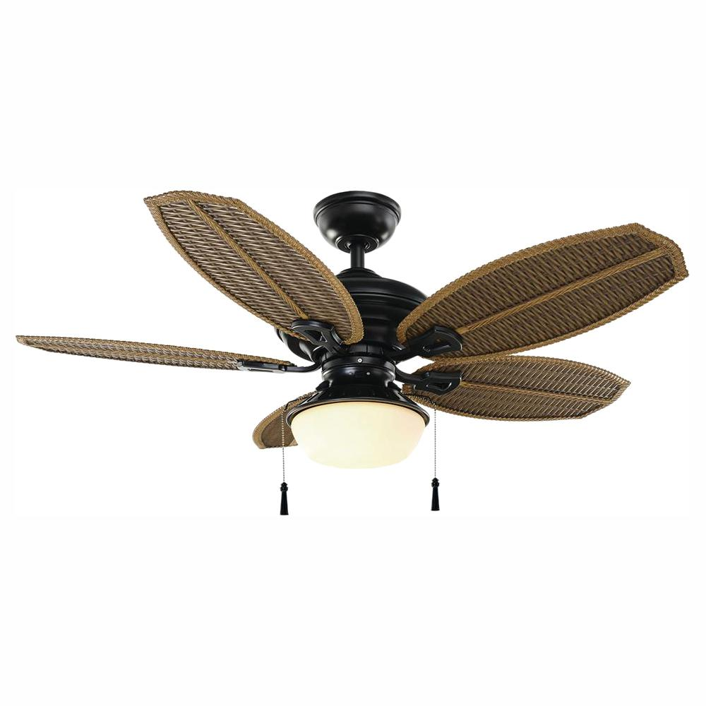Hampton Bay Palm Beach III 48 in. LED Indoor/Outdoor Natural Iron Ceiling Fan with Light Kit