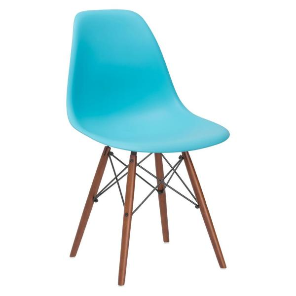 Poly and Bark Vortex Aqua Side Chair with Walnut Legs HD-105-WAL-AQU