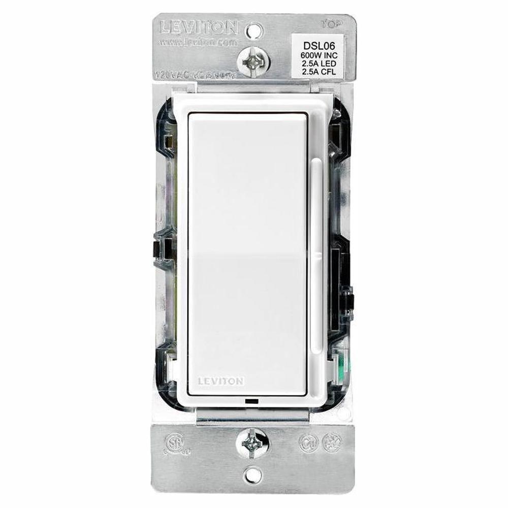 Decora 600-Watt Single-Pole/3-Way Universal Rocker Slide Dimmer, White (3-Pack)