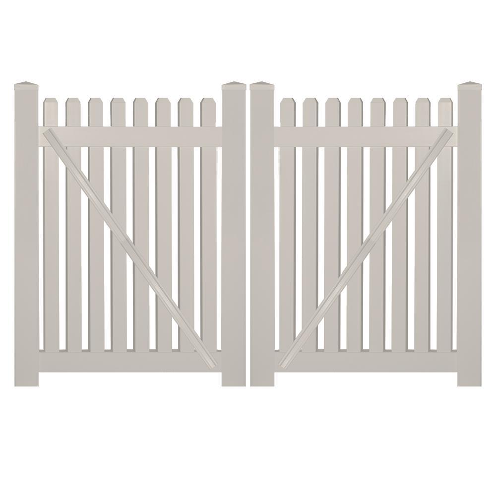 Provincetown 8 ft. W x 3 ft. H Tan Vinyl Picket Fence Double Gate