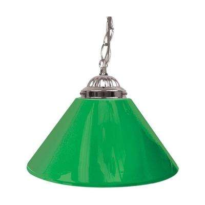 14 in. Single Shade Green and Silver Hanging Lamp