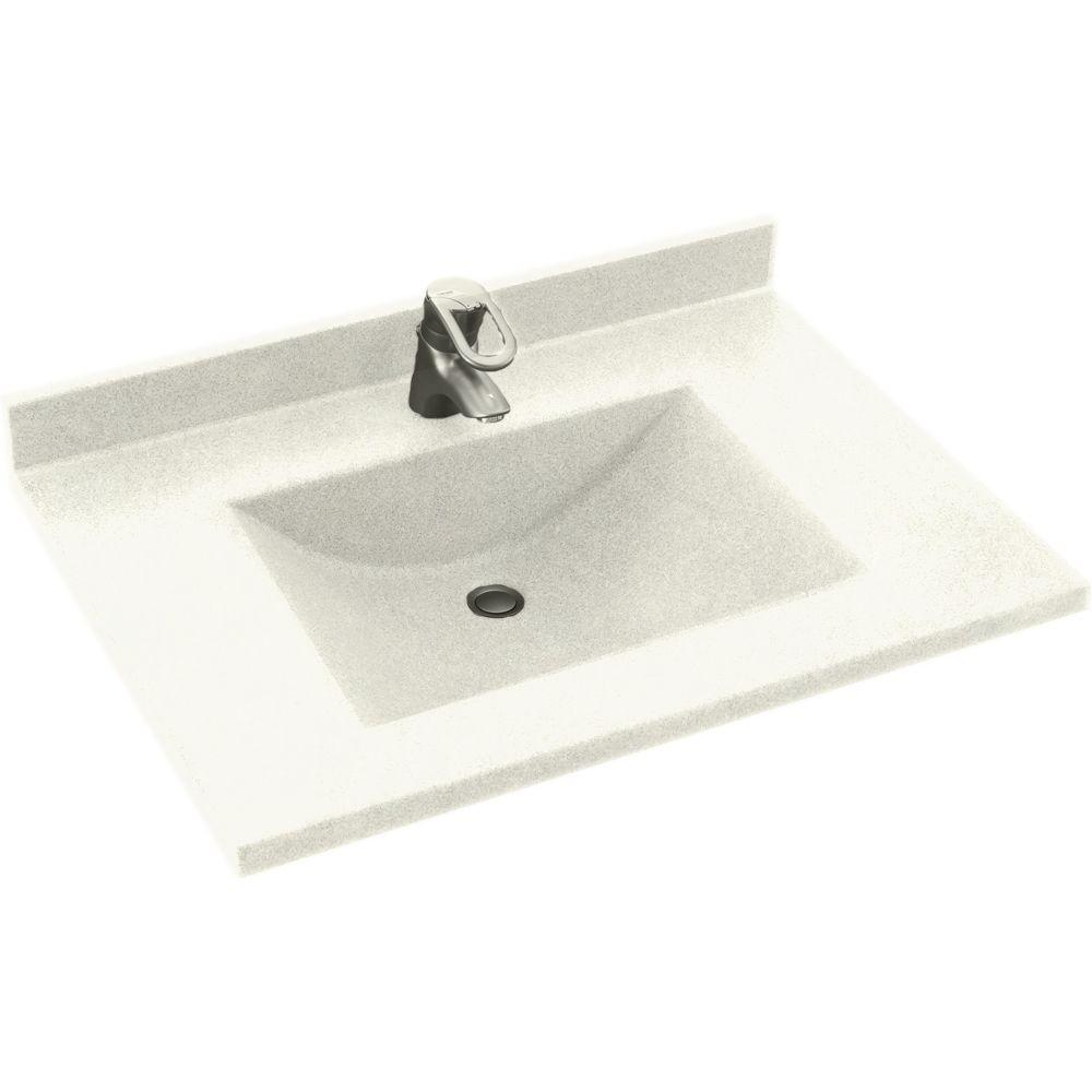 Swanstone Contour 25 In Solid Surface Vanity Top With Basin In Bisque Cv2225 018 The Home Depot