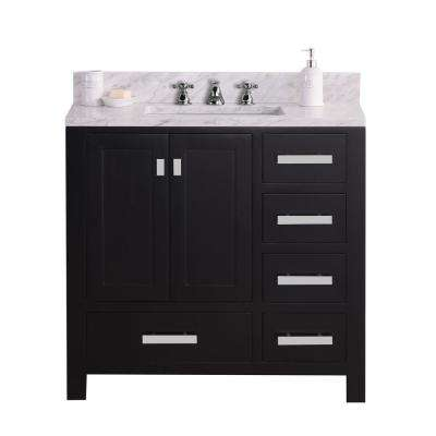 Madison 36 in. W x 34 in. H Vanity in Espresso with Marble Vanity Top in Carrara White with White Basin
