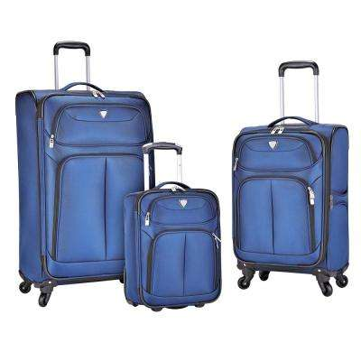3-Piece Navy Softside Luggage Collection with 28 in., 20 in. and 17 in. Vertical Rolling Cases