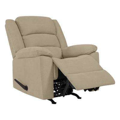 Rocker Recliner Chair in Barley Tan Plush Low-Pile Velvet