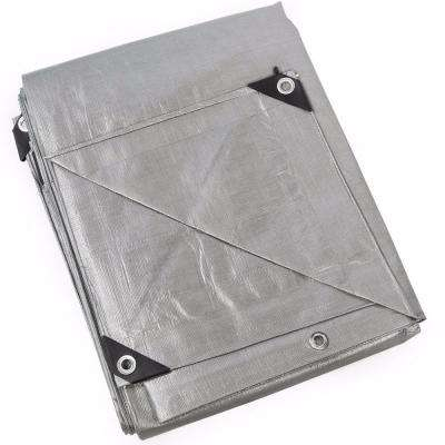 10 ft. x 16 ft. Silver Heavy Duty All-Weather Proof Poly Tarpaulin Tent Cover Tarp