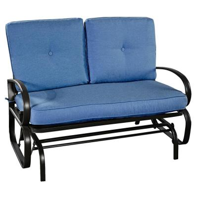 Metal Rocking Bench Outdoor Loveseat with CushionGuard Blue Cushions