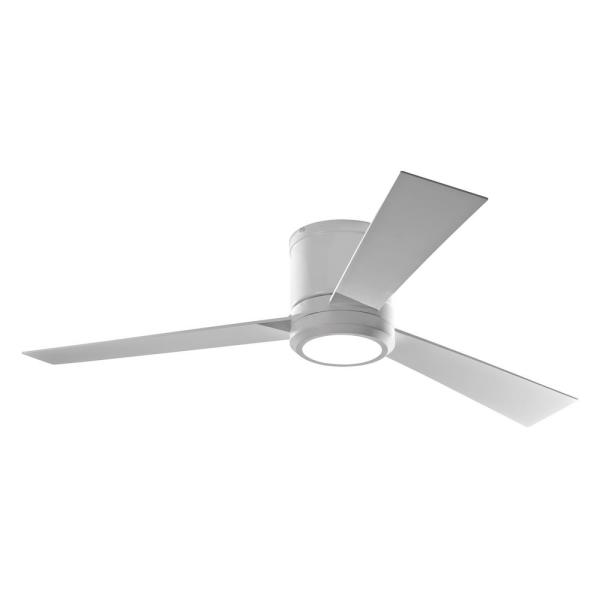 Clarity 52 in. LED Matte White Flush Mount Ceiling Fan with White Blades and Remote Control with Wall Face Plate
