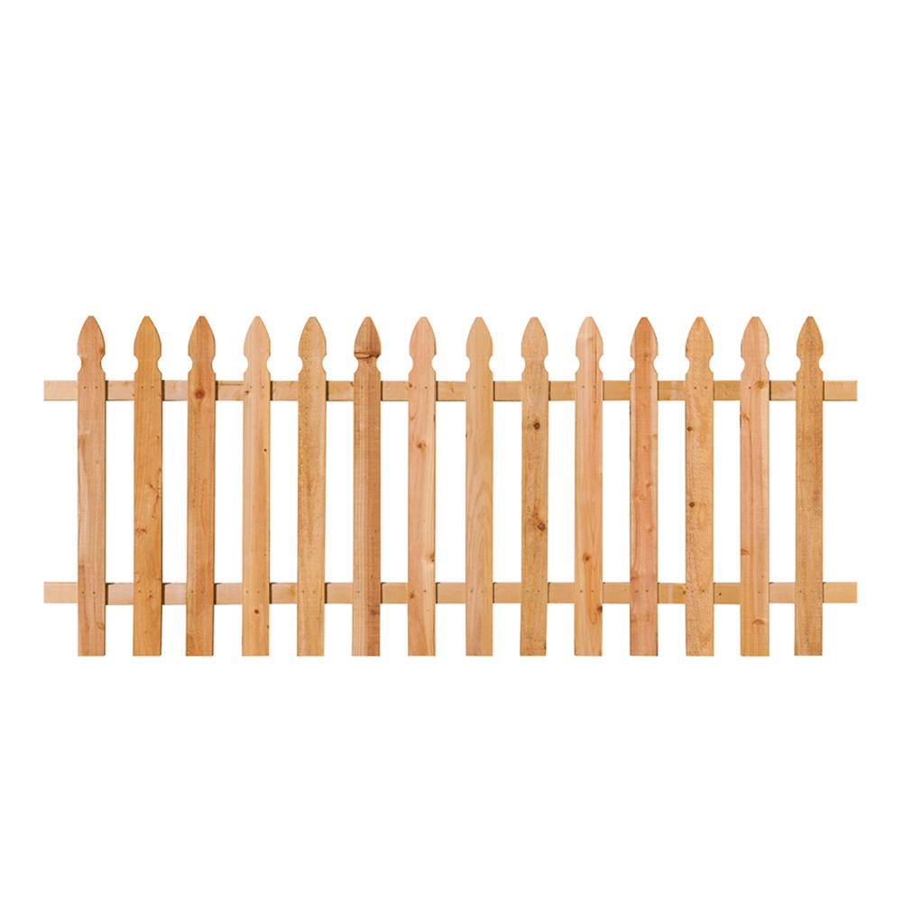 3-1/2 ft. x 8 ft. Cedar Spaced French Gothic Fence Panel