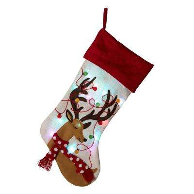 21 in. L LED Embroidered Linen Christmas Stocking - Reindeer