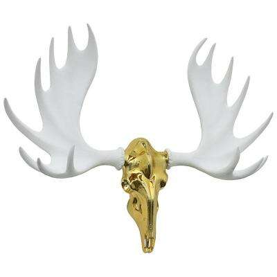35 in. x 9 in. Gold Resin Moose Wall Decor