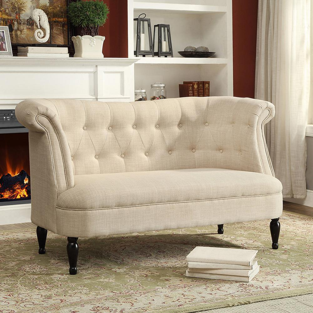 Erica Traditional Beige Fabric Upholstered Loveseat