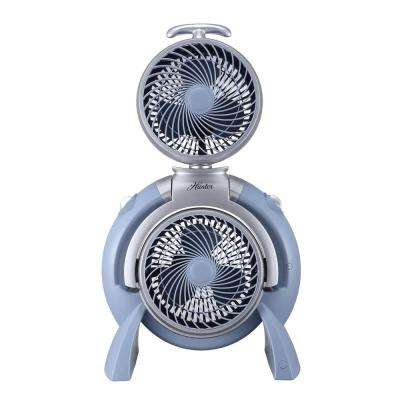 10 in. Dual Turbo Floor Fan in Dusty Blue with Silver Accent
