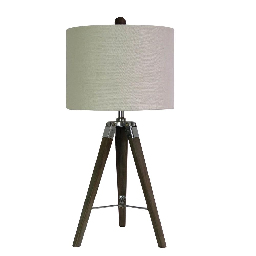 Fangio Lighting 28 In Tripod Table Lamp In Weathered Grey Wood And
