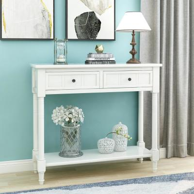 White Daisy Series Console Table with Two Drawers and Bottom Shelf