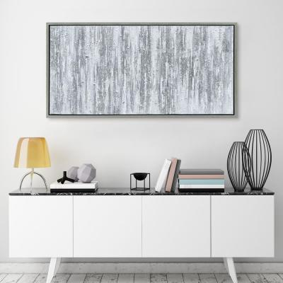 Silver Textured Metallic Hand Painted by Martin Edwards Framed Abstract Canvas Wall Art