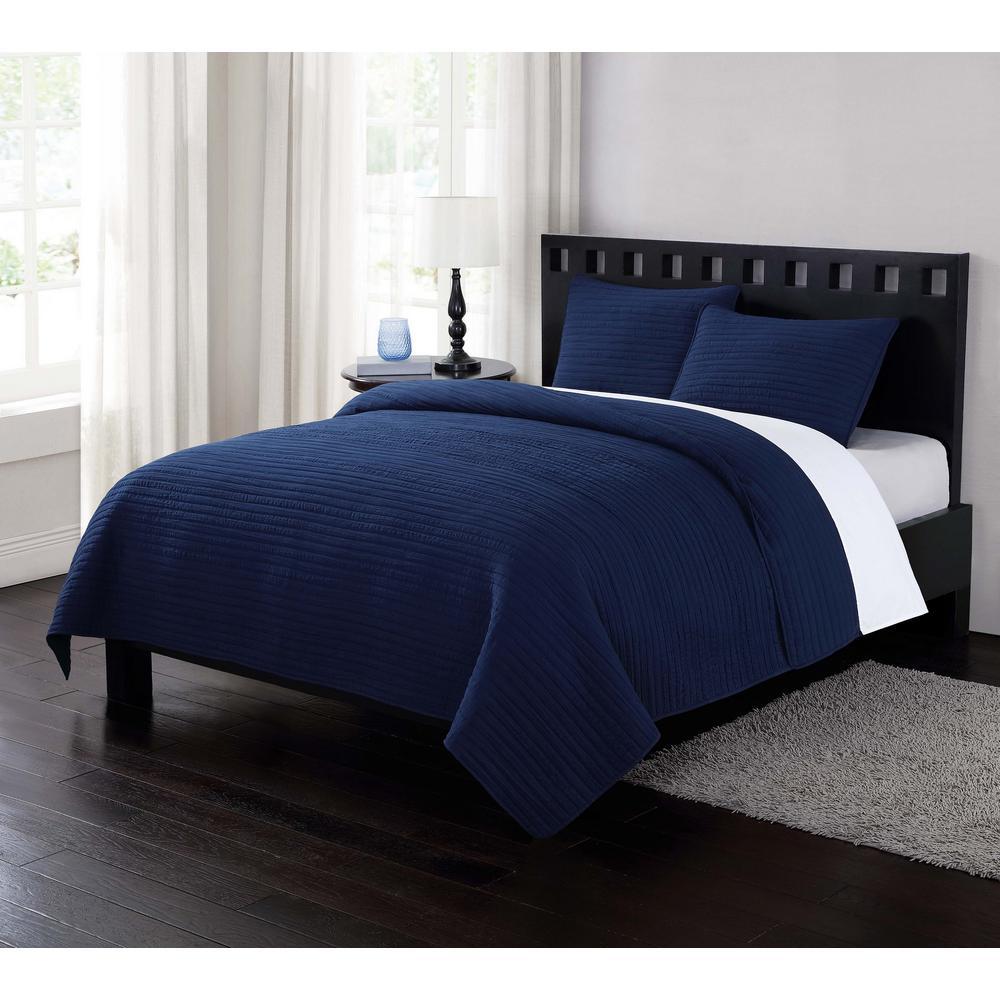 London Fog Garment Washed Crinkle Navy Blue Twin XL Quilt Set