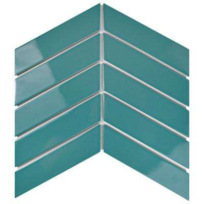 Metro Soho Chevron Teal 1-3/4 in. x 7 in. Porcelain Floor and Wall Tile (1 sq. ft. / pack)