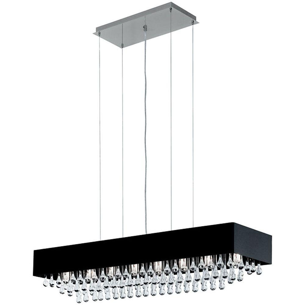 Eglo Camini 8-Light Matte Nickel and Black Island Chandelier