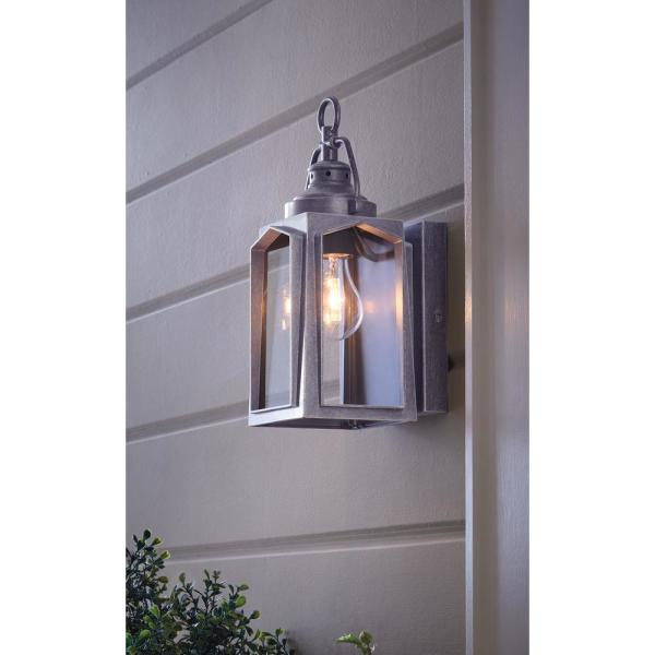 Home Decorators Collection 1 Light Charred Iron Outdoor Wall Lantern Sconce Hd 1511 I The Home Depot