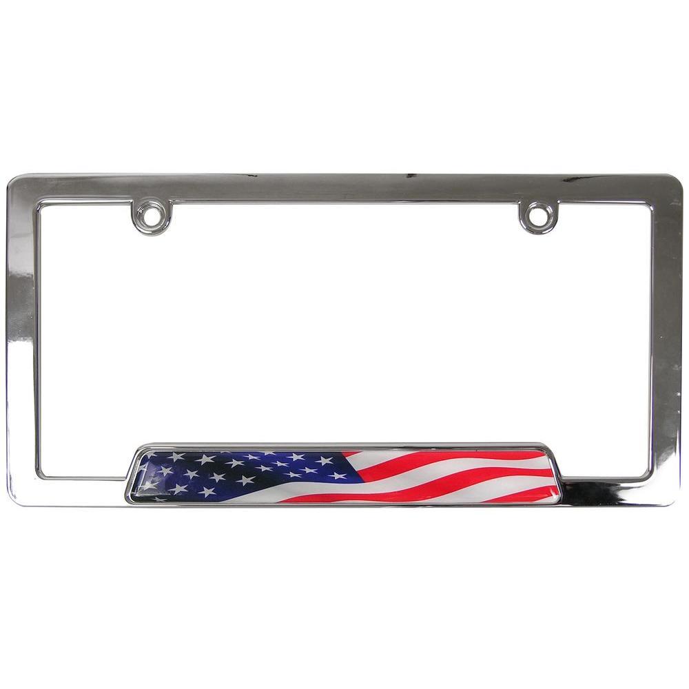 Chrome Metal Stars and Stripes License Plate Frame
