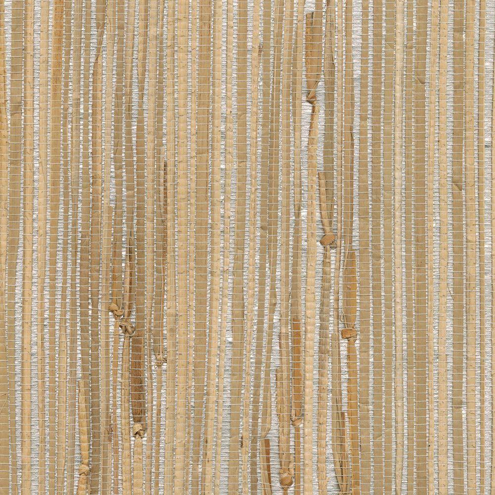 Tereza Silver Foil Grasscloth Silver Wallpaper Sample