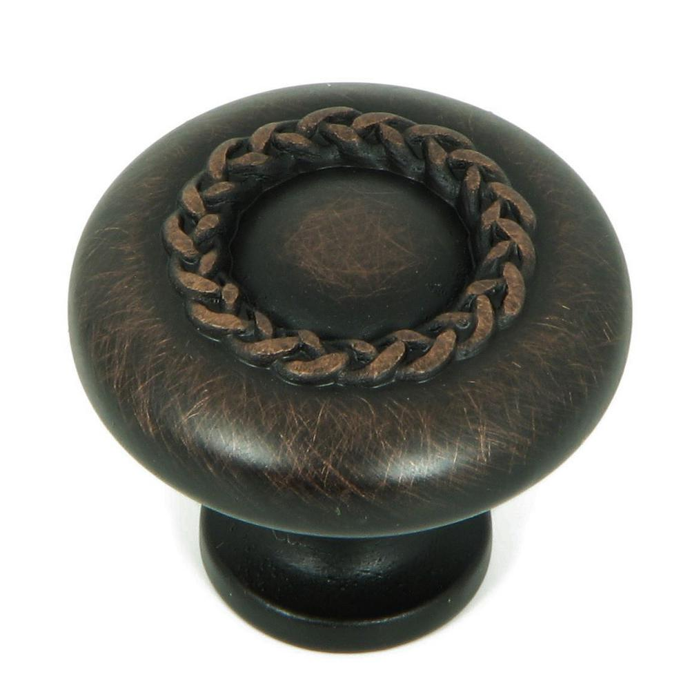 1-1/4 in. Oil Rubbed Bronze Round Rope Design Cabinet Knob (10-Pack)