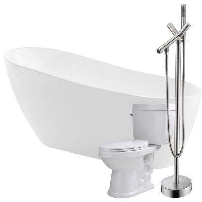 Trend 67 in. Acrylic Flatbottom Non-Whirlpool Bathtub in White with Havasu Faucet and Talos 1.6 GPF Toilet