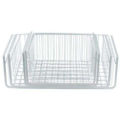 4-Piece Steel White Wire Under Shelf Storage Basket