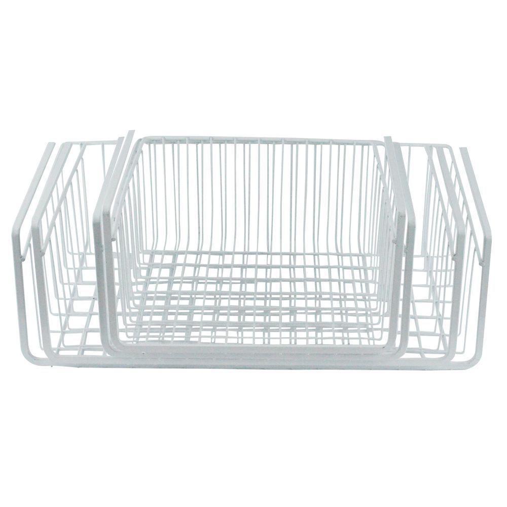 Southern Homewares 4-Piece Steel White Wire Under Shelf Storage Basket SH-10122