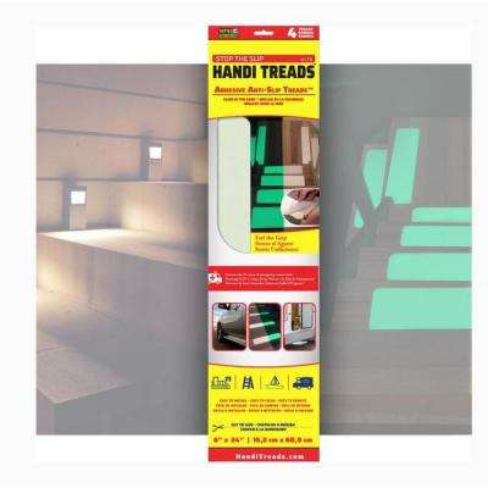 6 in. x 24 in. Handi-Treads Non-Slip Grit Tread Luminescent Retail (4-Pack)