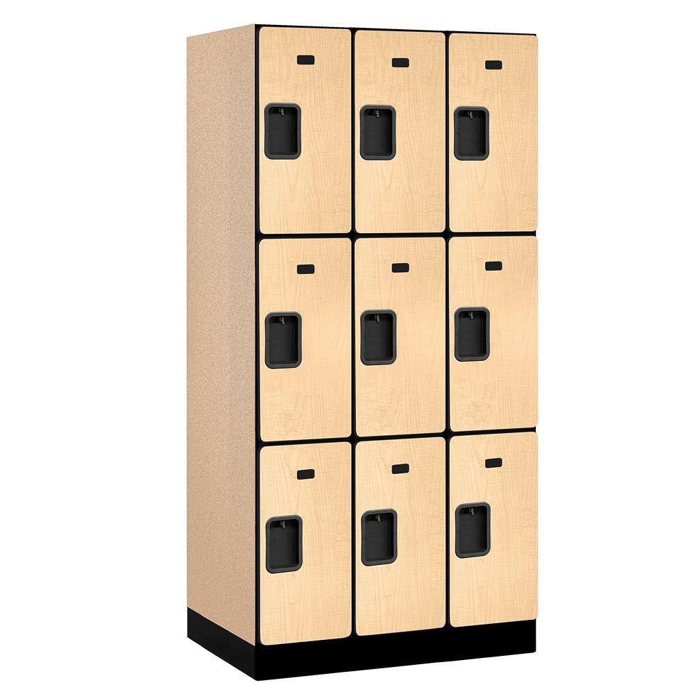 33000 Series 36 in. W x 76 in. H x 21 in. D 3-Tier Designer Wood Locker in Maple