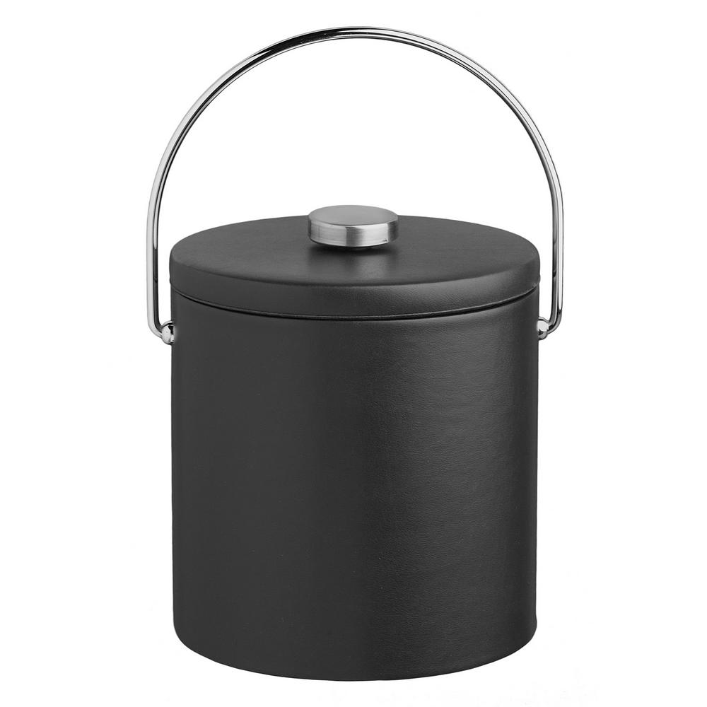 Contempo 3 Qt. Black Ice Bucket with Bale Handle and Thick