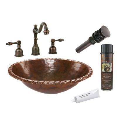 All-in-One Oval Roped Rim Self Rimming Hammered Copper Bathroom Sink in Oil Rubbed Bronze