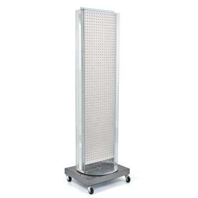 60 in. H x 16 in. W Pegboard Floor Display in White with C-Channel Sides on a Revolving Base