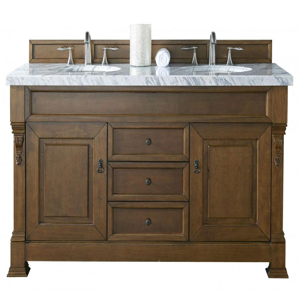 country bathroom double vanities. james martin signature vanities brookfield 60 in. w double vanity in country oak with marble top carrara white basin-14711456714car bathroom t