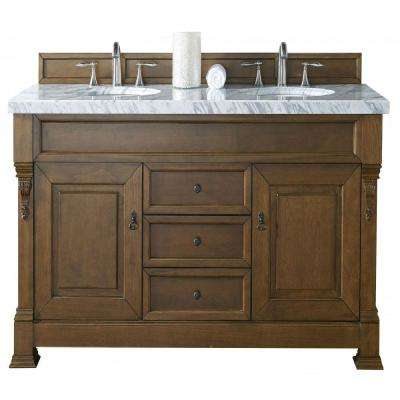 Brookfield 60 in. W Double Vanity in Country Oak with Marble Vanity Top in Carrara White with White Basin