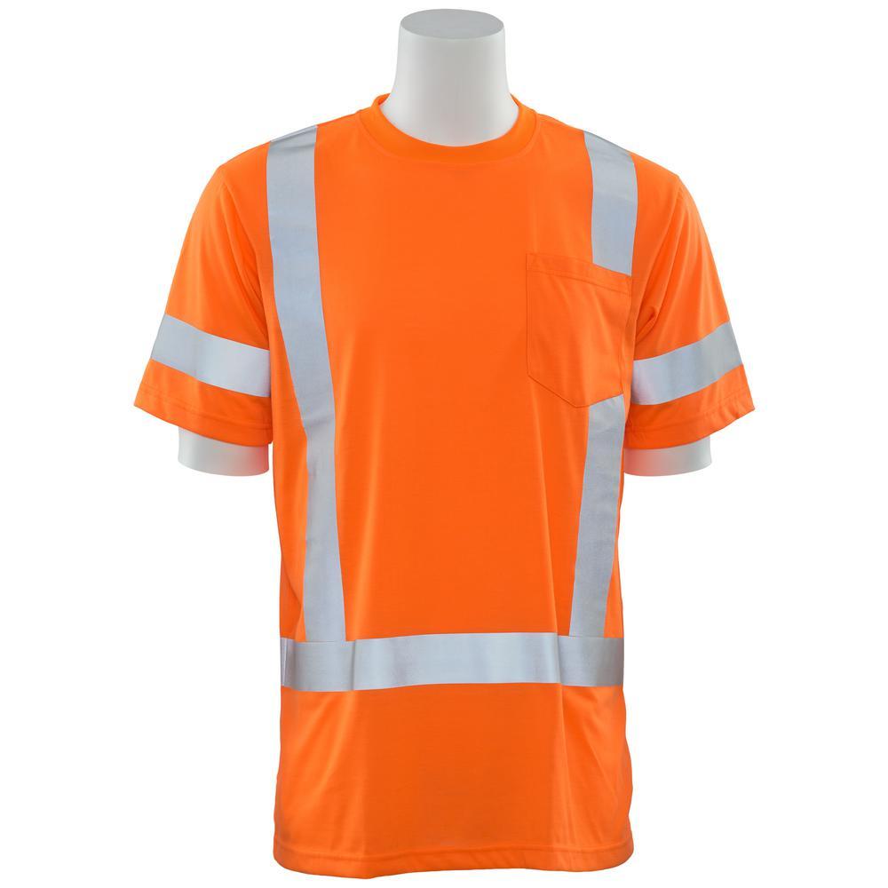 9801S 5X Class 3 Short Sleeve Hi Viz Orange Unisex Poly Jersey T-Shirt