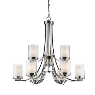 Lara 9-Light Chrome Chandelier with Clear and Matte Opal Glass Shade