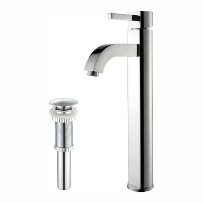 Ramus Single Hole Single-Handle Vessel Bathroom Faucet with Matching Pop Up Drain in Chrome