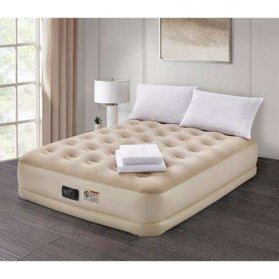 Deluxe 16 in. Queen Air Mattress with Complete White Bedding Set