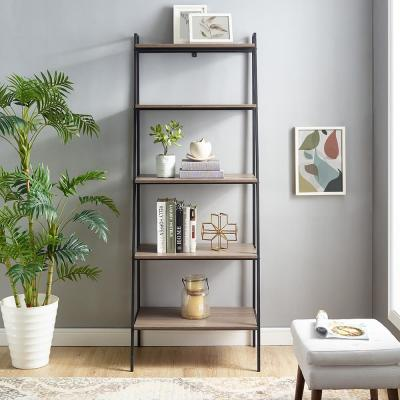 72 in. Mocha Metal and Wood Ladder Shelf