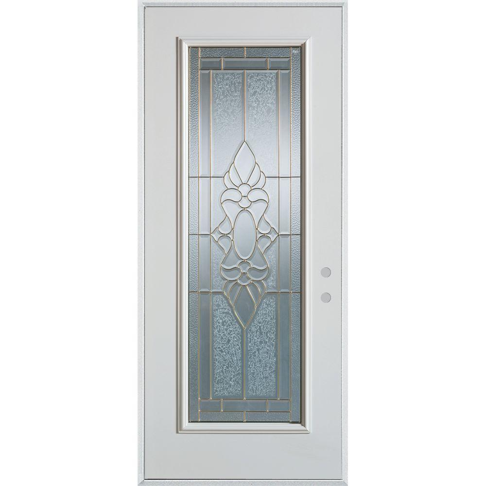 Stanley Doors 36 in. x 80 in. Traditional Brass Full Lite Prefinished White Left-Hand Inswing Steel Prehung Front Door