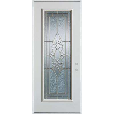 Traditional Brass Full Lite Prefinished White Left Hand
