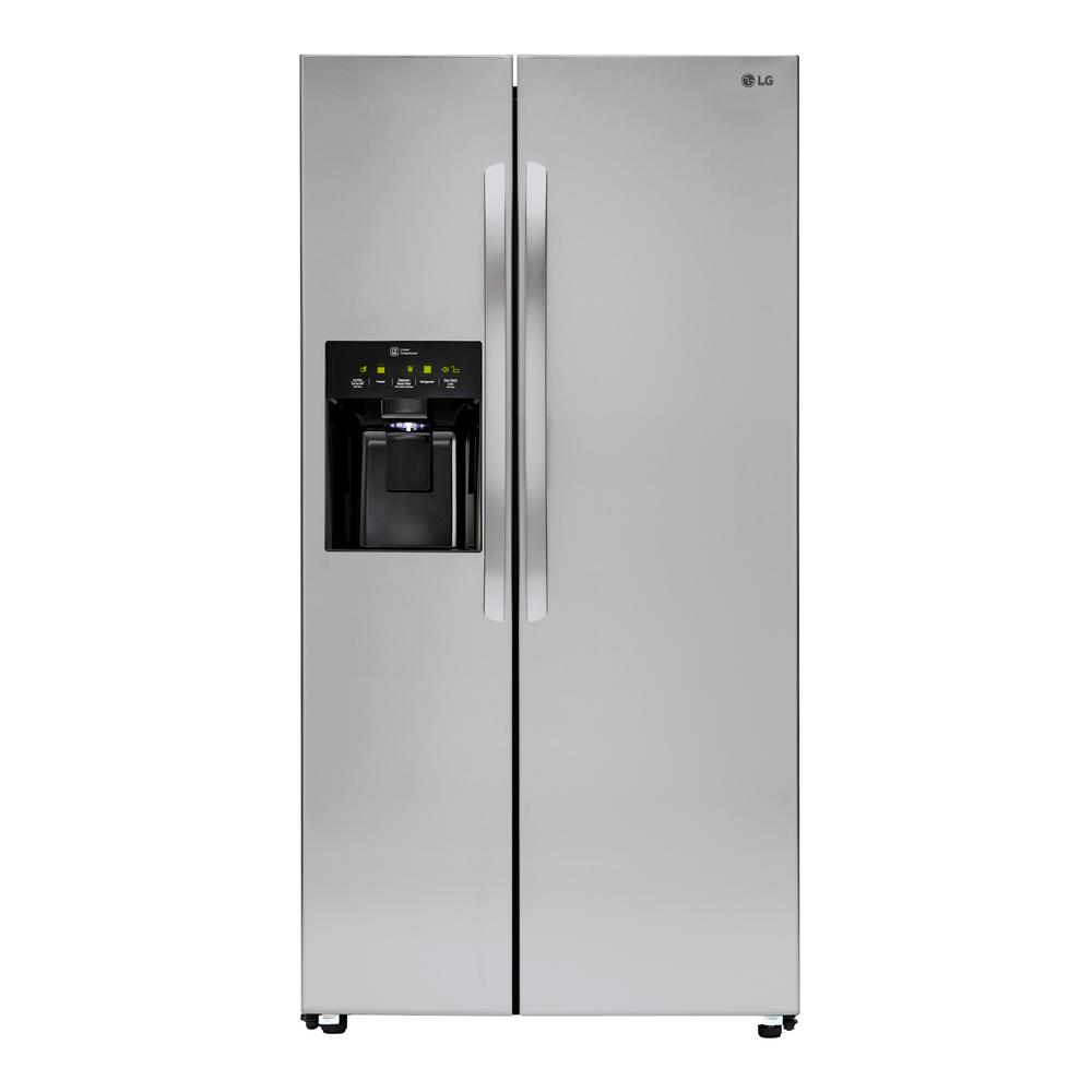 lg electronics 26 2 cu ft side by side refrigerator in stainless steel lsxs26336s the home depot. Black Bedroom Furniture Sets. Home Design Ideas