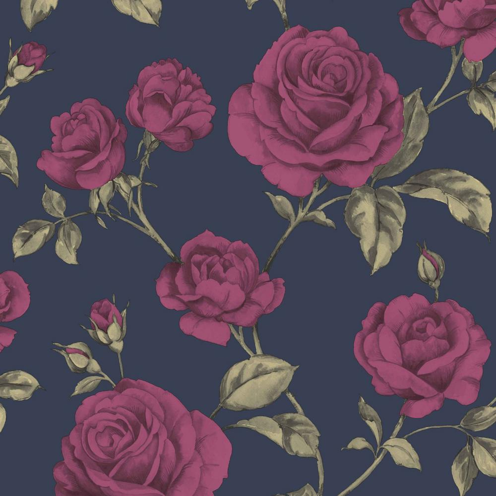 Graham Brown Countess Navy Blue Pink And Green Removable