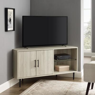 48 in. Birch 2-Door Glass Shelf Corner TV Console